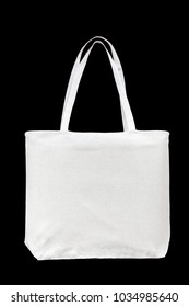 Tote bag canvas white cotton fabric cloth for shoulder eco shopping sack mockup blank template isolated on black background (clipping path)