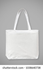 Tote bag canvas white cotton fabric cloth eco shopping sack mockup blank template isolated on grey background (clipping path)