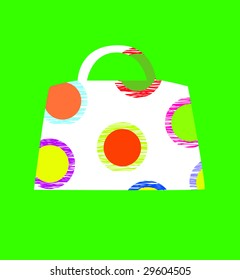 tote bag in colorful circles on green