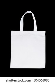 Tote bag fabric cloth shopping sack mockup isolated on black background (clipping path)