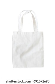 Tote bag mock up or white canvas fabric cloth shopping sack template mockup  on white background