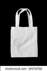 Tote bag mock up or white canvas fabric cloth shopping sack template mockup on black background
