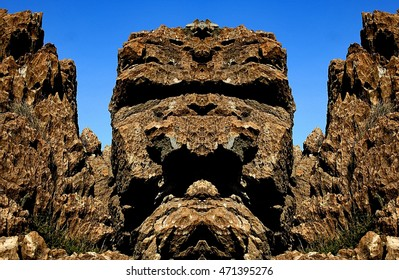 The Totem, the petrified forest of San Andres de Teixido, discovered and developed by Munimara value, abstract surreal photography North, Cedeira, La Coruna, Galicia, Spain