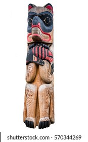 Totem pole with animal and fish isolated on white background