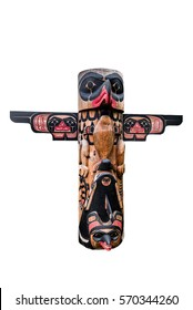 Totem pole with eagle and wings isolated on white background