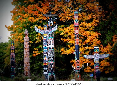 Totem poles in Stanley Park,Vancouver