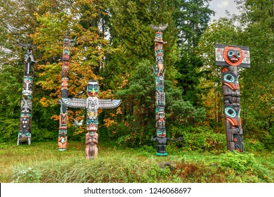 Totem poles at t Brockton Point in Stanley Park in Vancouver, Canada