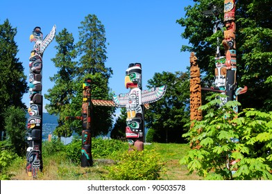 Totems in Stanley Park Vancouver, Canada