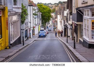 Totnes, Devon, England, 21 July 2017:  View of the central street of Totnes. Street under a big bias. UK