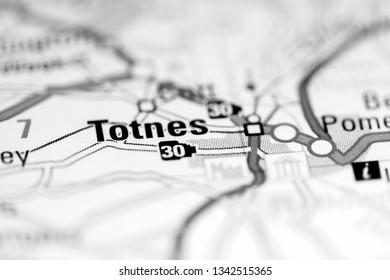 Totnes. United Kingdom on a geography map