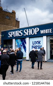 Tottenham, London - 1st May 2017 - People passing and entering the Tottenham Hotspurs Football club shop, Spurs shop,