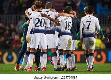 Tottenhams players celbrate during the match between FC Barcelona and Tottenham Hotspurs at Camp Nou Stadium in Barcelona, Spain on December 11, 2018.