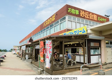 TOTTORI, JAPAN - JUNE 7, 2014: Sakyu Kaikan (Information Center and Souvenir shop) in front of Tottori sand dunes.