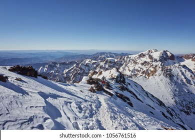 Toubkal national park, Morocco seen from Jebel Toubkal highest peak of Atlas mountains and Morocco