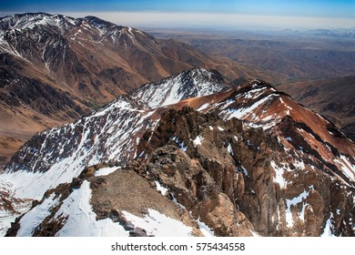 Toubkal national park, Morocco seen from Jebel Toubkal – highest peak of Atlas mountains and Morocco