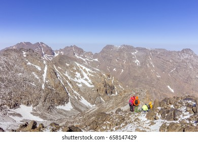 Toubkal national park, the peak whit 4,167m is the highest in the Atlas mountains and North Africa, trekkers trail view. Morocco