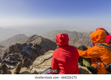 Toubkal national park, the peak whit 4,167m is the highest in the Atlas mountains and North Africa, trekkers relaxing and appreciating view. Morocco