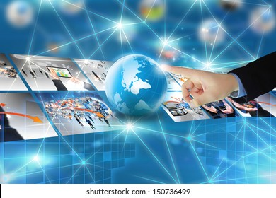 Touch button interface.technology connectivity concept