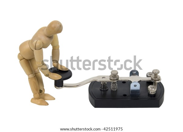In touch with communication shown by model with antique telegraph key used for Morse Code - path included