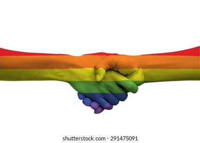 The touch of the hand shows the love, trust and confidence. Rainbow flag is a symbol of lesbian, gay, bisexual, and transgender hands touching each other to show their love.isolate on white