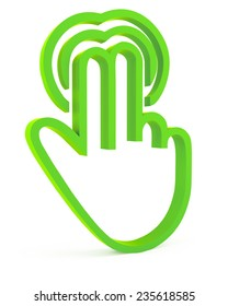 Touch icon, 3d green fingers on white background
