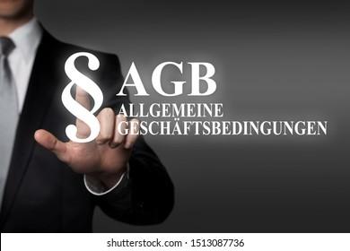touch screen business concept - german term: AGB - Allgemeine Geschäftsbedingungen  (general terms and conditions)