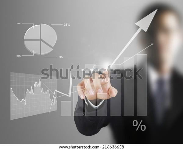 Von Hand kommende Touchscreen-Finanzsymbole
