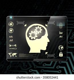 Touch screen with a human head and gears. Transparent display on a digital background. Stock illustration.