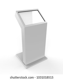 Touch Screen Information Floor Stand Digital Signage Kiosk. 3d render illustration.