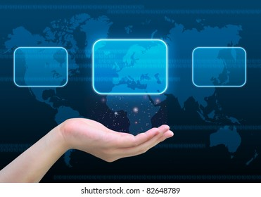 touch screen interface on women hand