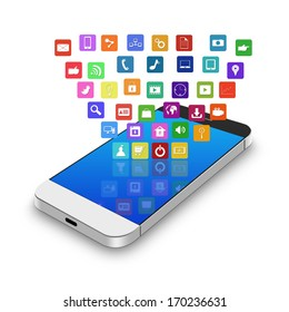 Touch screen mobile phone with colorful application icons,cell phone illustration