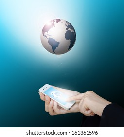 Touch screen mobile phone to display globalization, Design concept of  globalization and communication, connect to the World