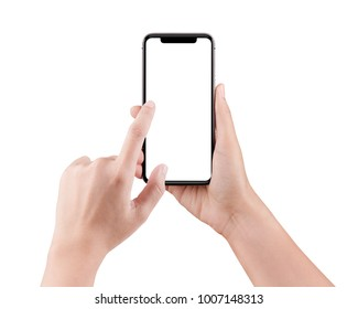 Touch screen mobile phone, in hand with clipping path, Woman typing on mobile phone isolated on white background and holding a modern smartphone and pointing with figer.