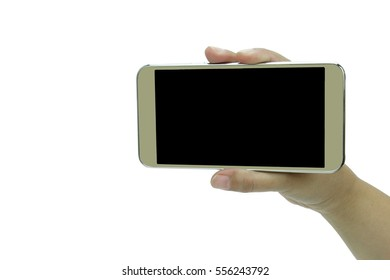 Touch screen mobile phone, in hand ,White Background