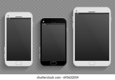 Touch screen mobile phones, smartphones in different size and tablet realistic templates. Set of smartphones, illustration of phone with touch screen