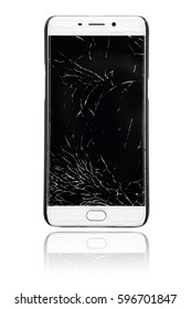 Touch screen mobile smartphone with broken screen  isolated on white background.