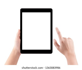 Touch screen smart tablet in hand with clipping path, Woman typing on smart tablet isolated on white background and holding a modern smart tablet and pointing with finger.