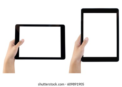 Touch screen tablet computer with hand set isolated. white background