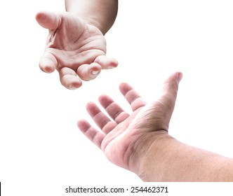 Touching and asking concept: Muslim hand of man reaching to hand of GOD on heaven.