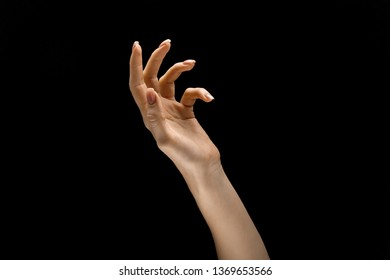 Touching of emptyness. Female hand demonstrating a gesture of getting touch isolated on black studio background. Concept of human emotions, feelings, phycology or business.