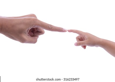 Touching Hands, touching finger on finger