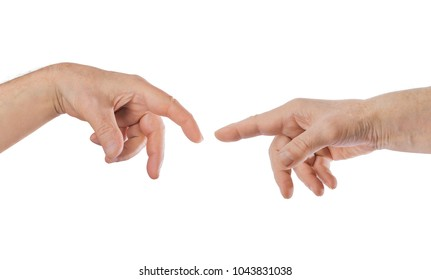 Touching hands - isolated on white background