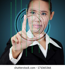 Touching a security key on virtual screen. Concept of business security.