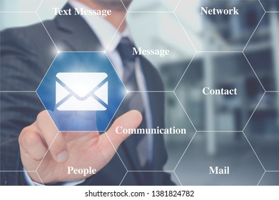 Touching sending message Email Communication Online Network Concept
