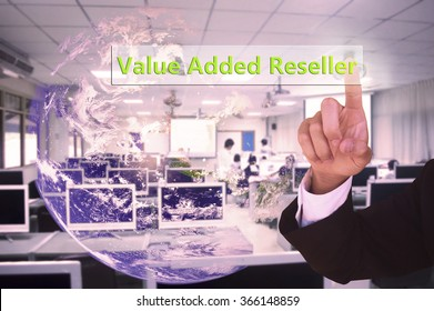 touching Value Added Reseller  on virtual screen vintage tone , image element furnished by NASA