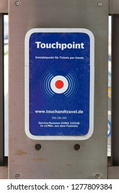 Touchpoint, contact point for tickets by mobile phone, Central Station, Frankfurt am Main, Hesse, Germany, Europe,  July 2013