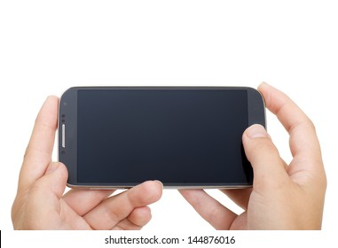 a touchscreen smartphone held in landscape