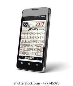 Touchscreen smartphone with january 2017. Image with clipping path.