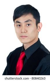 Tough Asian man in black
