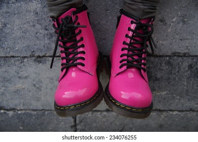 Tough pink punk alternative girl military skinhead shoes or boots